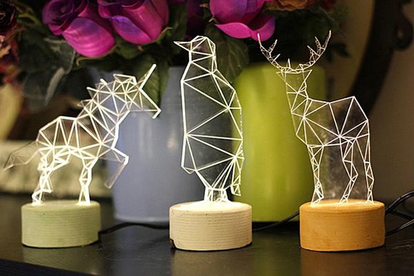 几何图形拼出动物灯